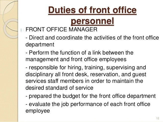 front of house receptionist job description - Boatjeremyeaton