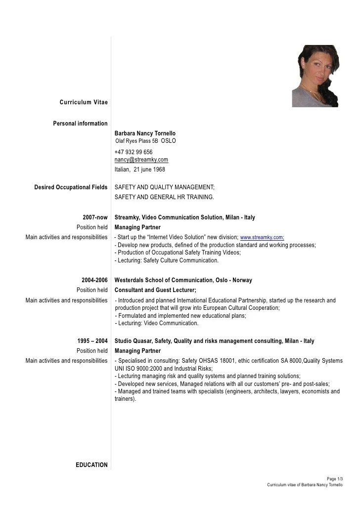 Academic Curriculum Vitae Cv Examples The Balance Formal Cv Tornello