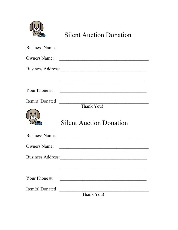 form for silent auction
