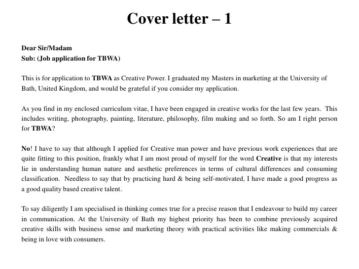 Sample Cover Letter For Job Application With Writing Tips For Tbwa And Advertising