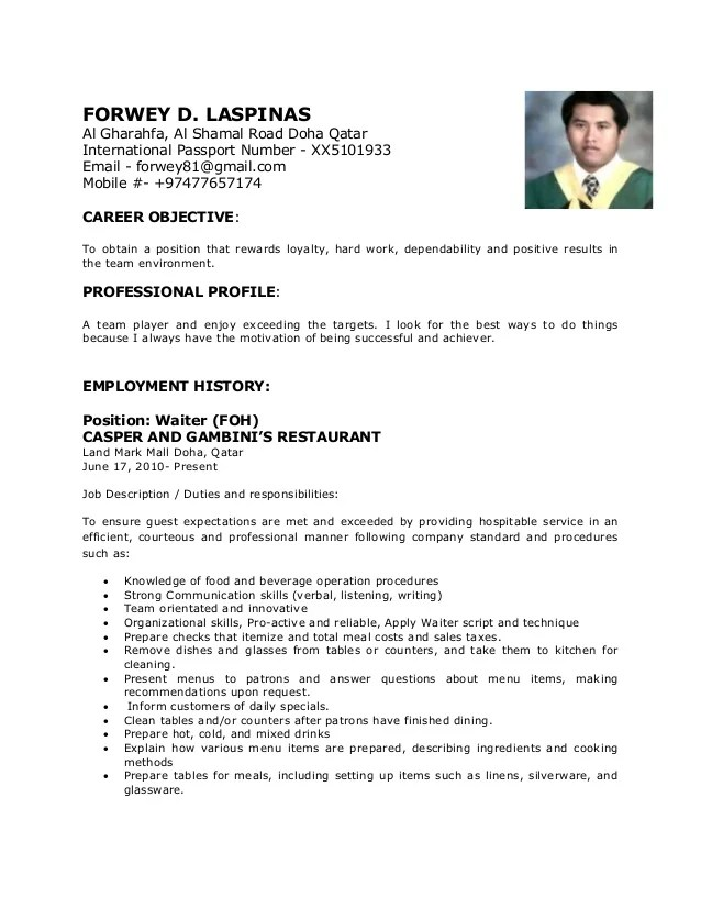 Cv Format Sample Resume | Cover Letter Examples In Banking