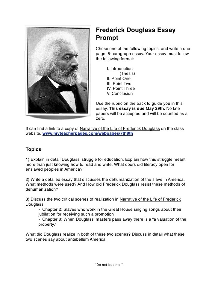 frederick douglass research paper outline