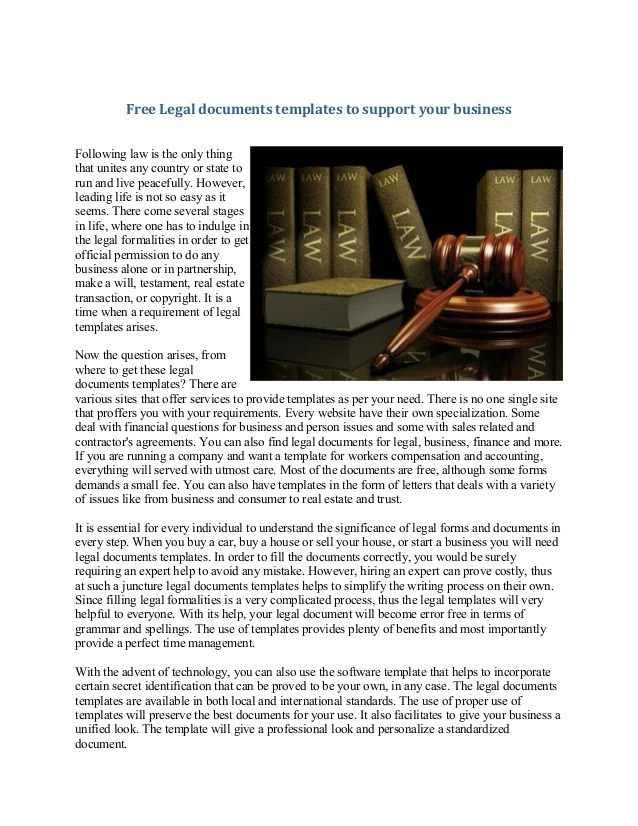 Free Legal documents templates to support your business