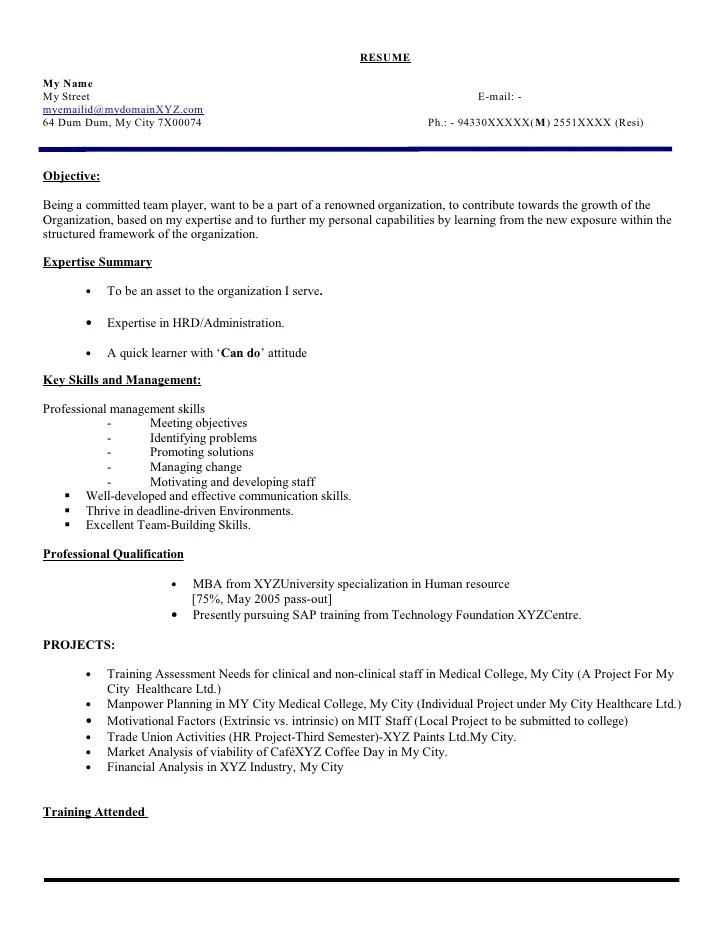 Executive Cover Letter Example Fresher Hr Executive Resume Model 103 110421082750 Phpapp02