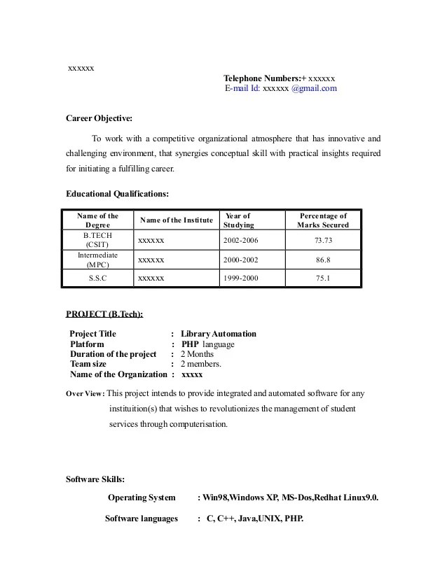 Sample Resume Format For A Fresher | Resume Tips Land A New Job By