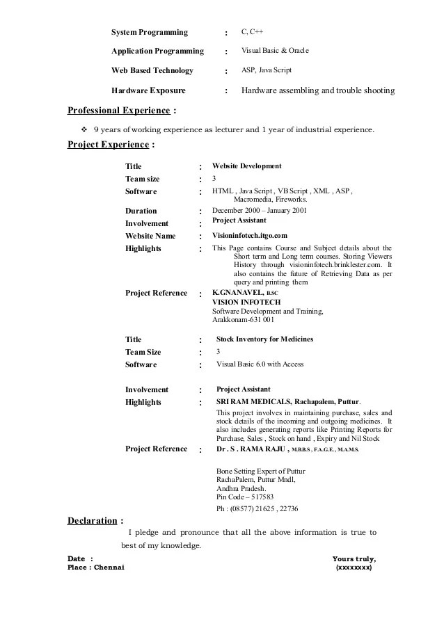 Sample Resume For Lecturer   Resume CV Cover Letter