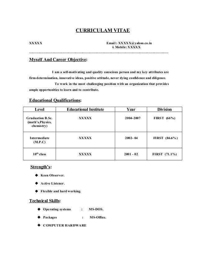 Msc chemistry resume for freshers
