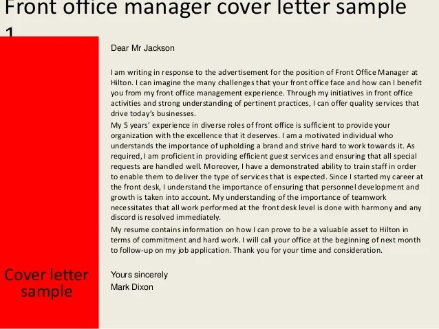 Manager Of Quality Organizational Excellence Front Office Manager Cover Letter