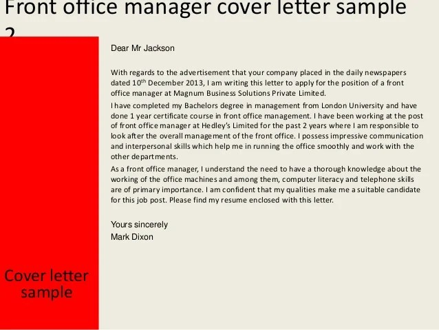 Cover Letter Sample For A Resume The Balance Front Office Manager Cover Letter