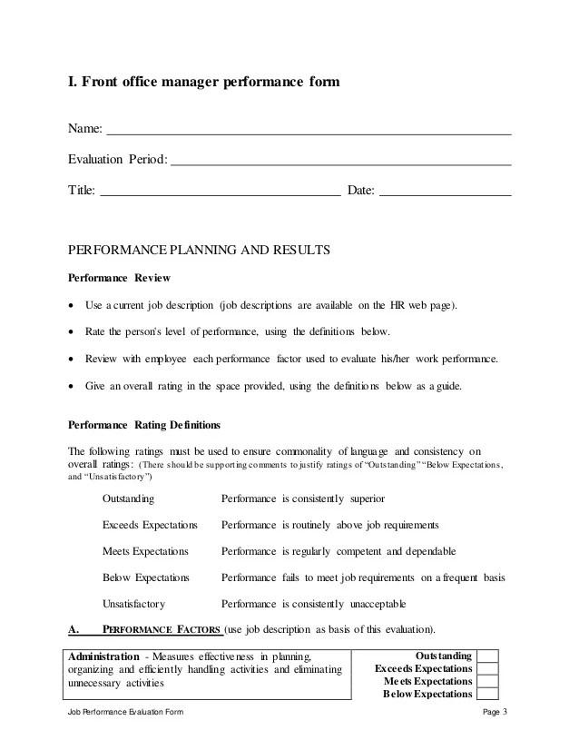 hotel employee performance evaluation form - Josemulinohouse - employee performance appraisal form