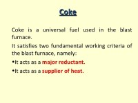 Fuels & fueling methods used in the blast furnace