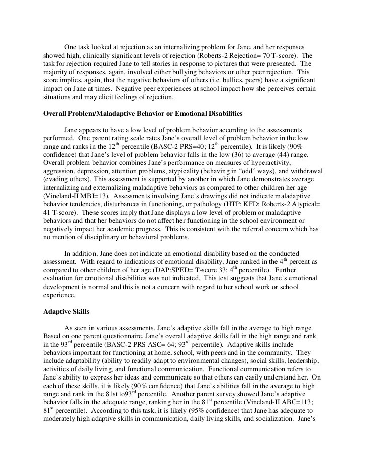 psychological report sample - Vatozatozdevelopment