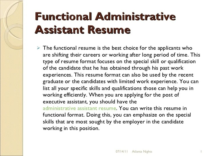 functional administrative assistant resumes - Mucotadkanews
