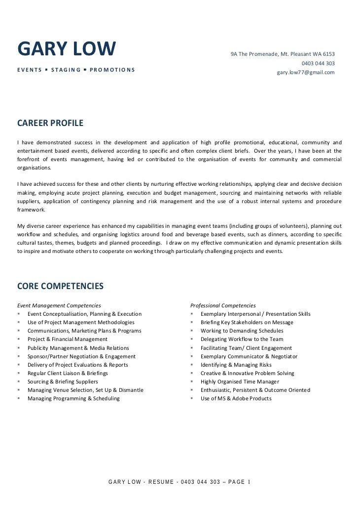 Waiter Resume Sample Job Winning Resume Gary Low Resume