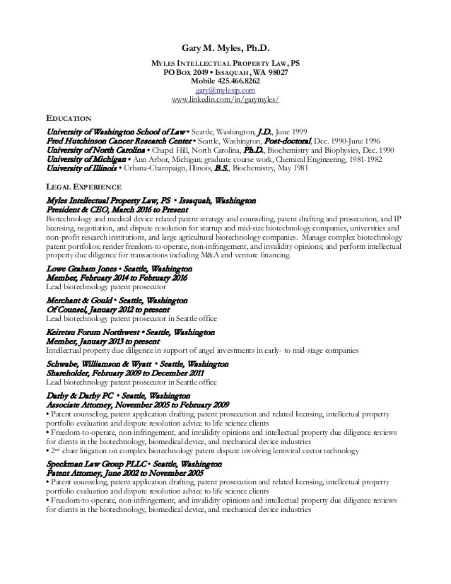 sample professional resume for patent attorney professional