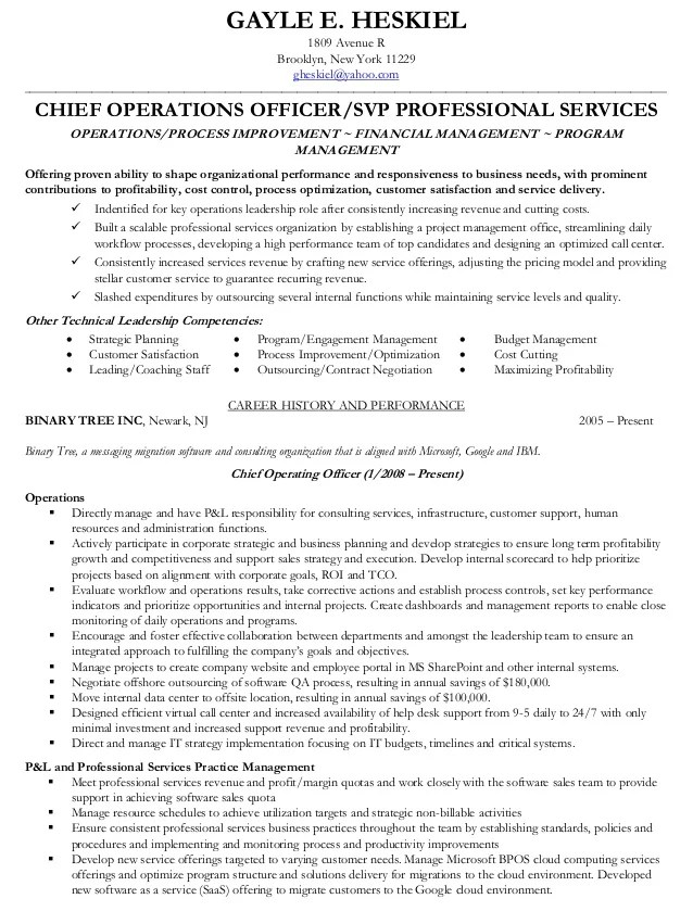 Resume example chief operating officer Cheap, Reliable Custom