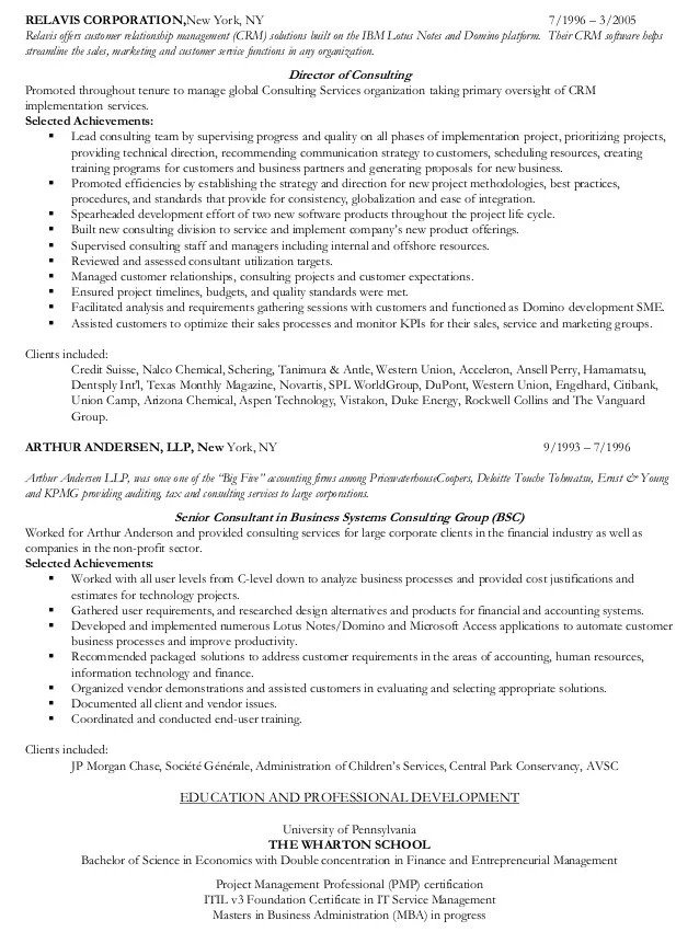 resume for consulting companies