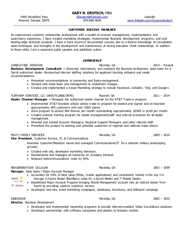 customer success cv