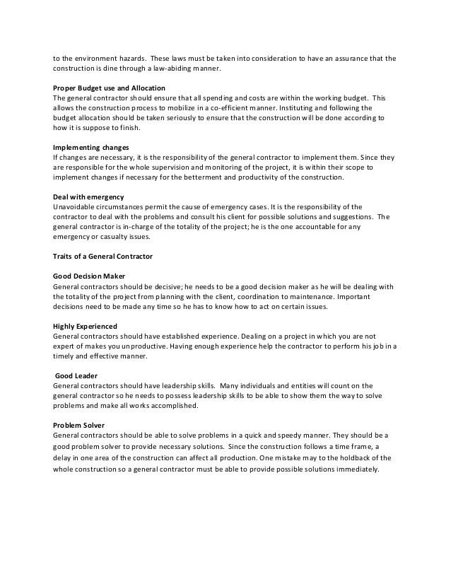general contractor job description - Onwebioinnovate