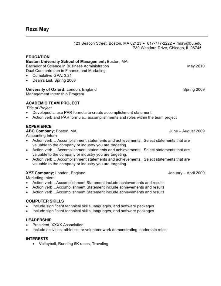 Resume For Internship 998 Samples 15 Templates Undergraduate Sample Resume
