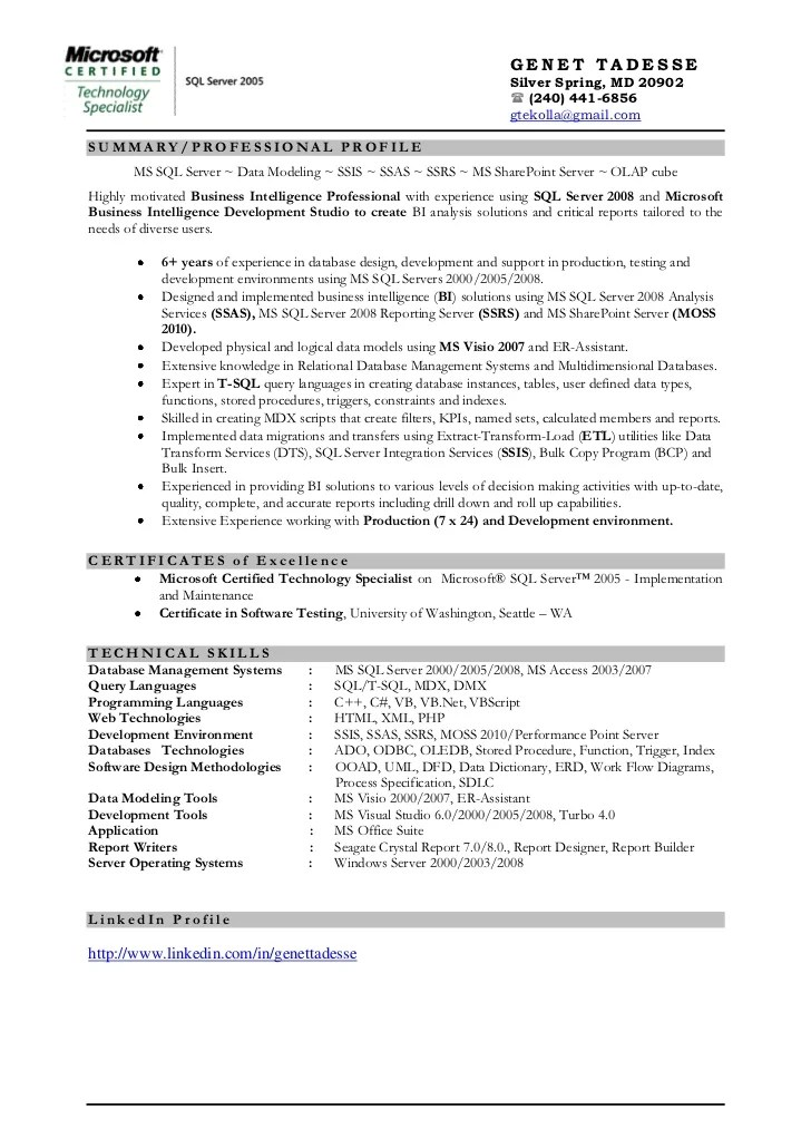 ssis ssas ssrs resume sample