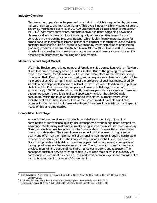 Hair And Beauty Salon Business Plan Sample Executive Student Project Business Plan Competition Entry In Spring