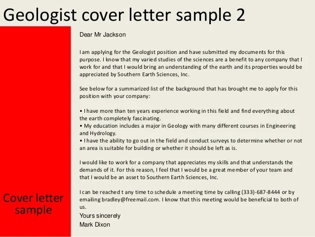 Writing Your Job Application Letter Example And Tips Geologist Cover Letter