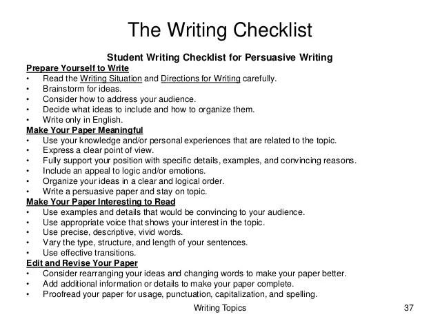 Essay Writing Checklist For High School Students Mistyhamel
