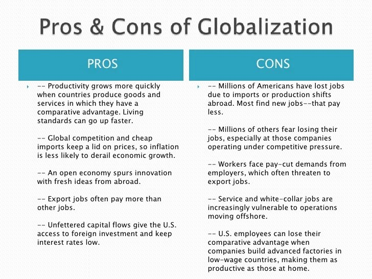 advantages and disadvantages of financial globalization