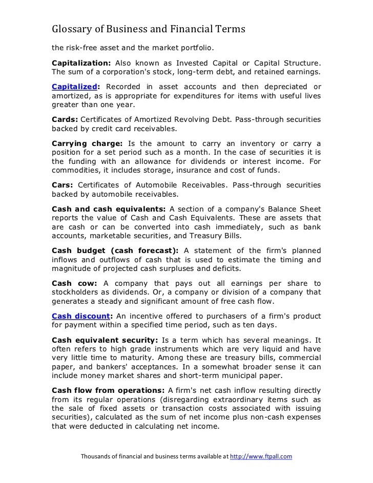 Glossary of financial and business terms