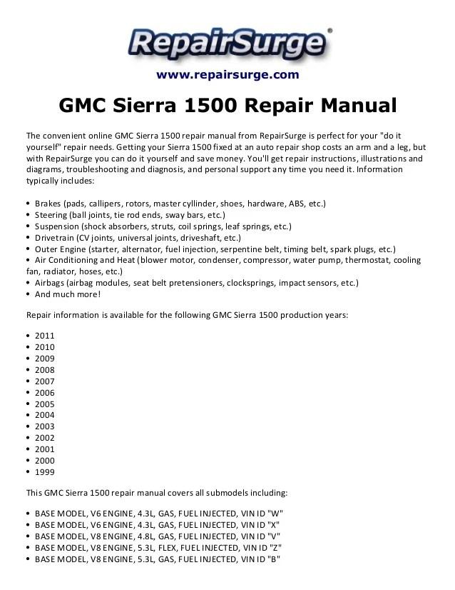 repair service manual 2006 sierra
