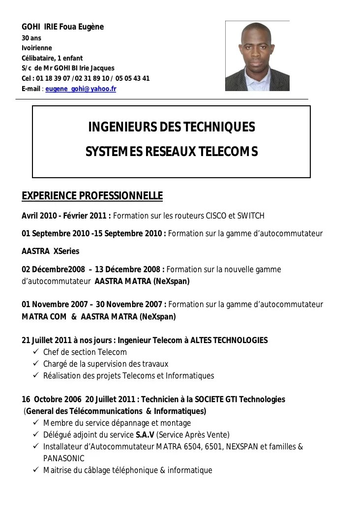 exemple cv telecommunication