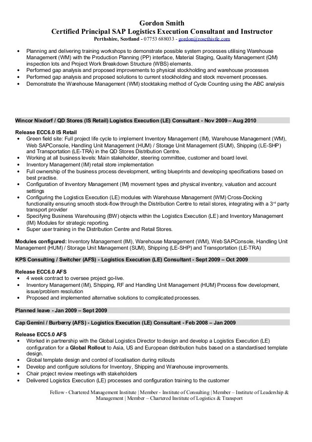 Management And Hr Consultant Resume Sample Sap Logistics Execution Consultant Cv