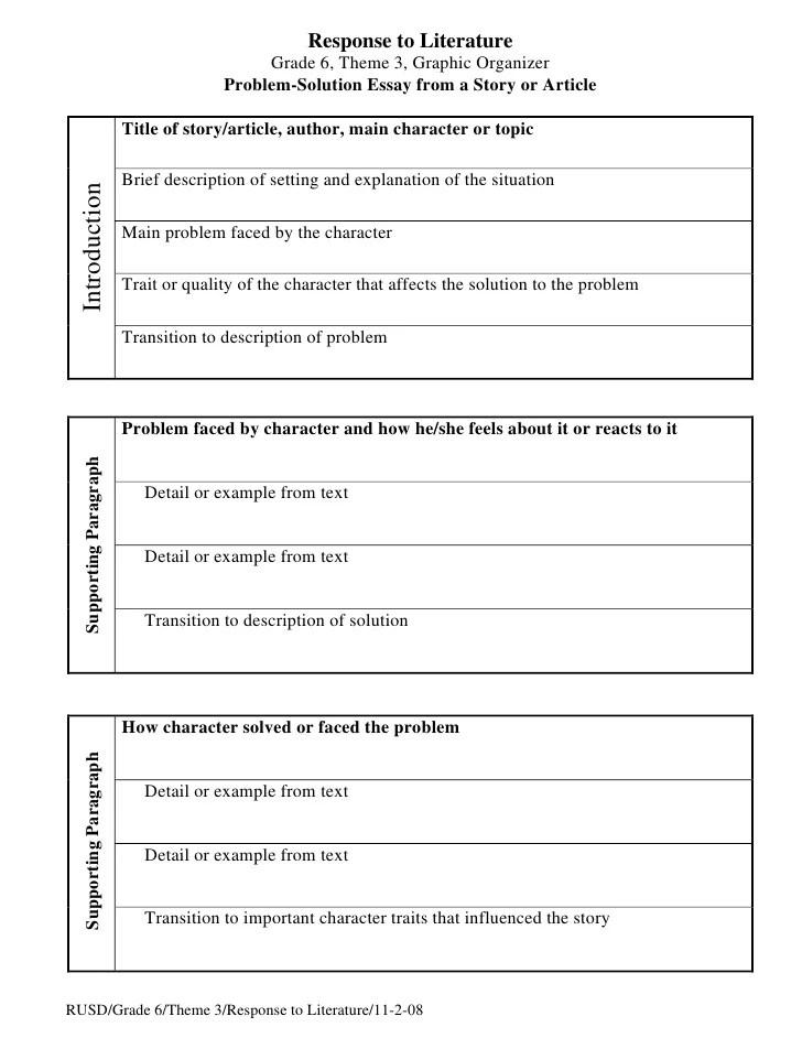 Problem Solution Essay Organizer