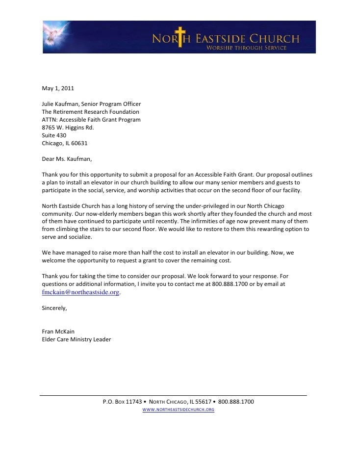 Sample Letter Of Intent For A Grant Sophisticated Edge Grant Proposal