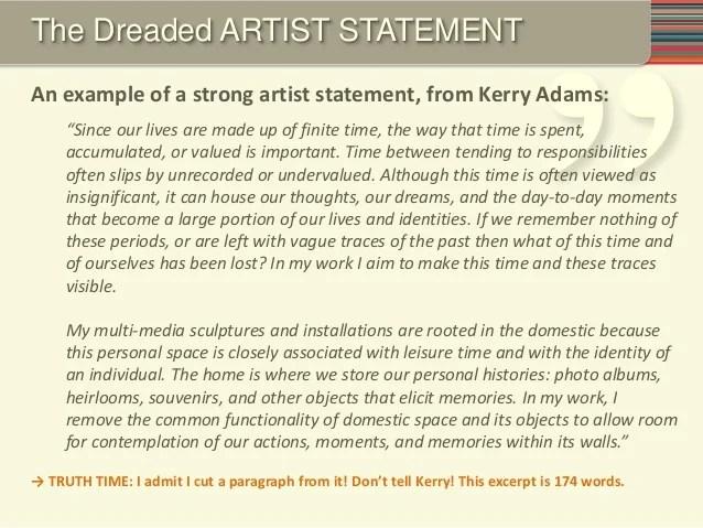 Sample Artist Statement SampleArtistStatementXitwEk The Artist