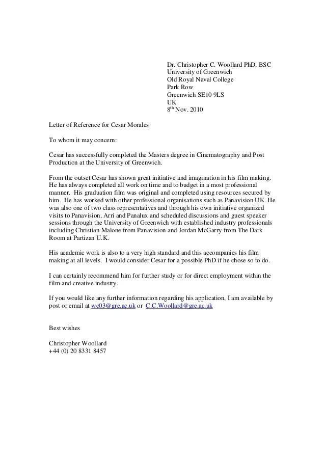 Reference Letter College Reference Letter For A Greenwich Reference Letter