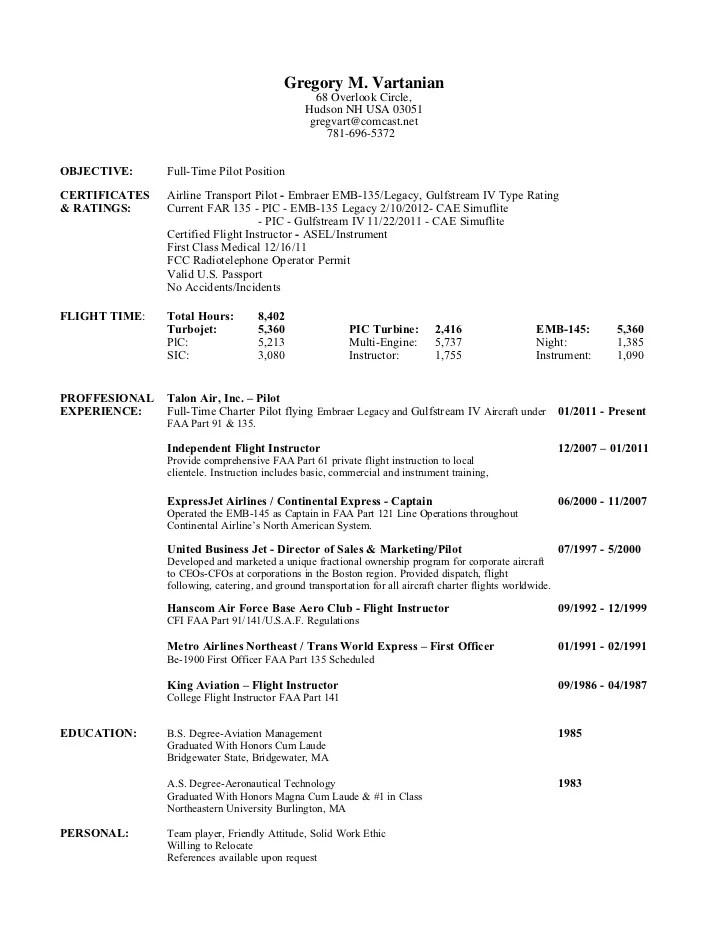 sample resume for pilot job professional pilot resume template bizjetjobs greg vartanian pilot resume 2 12 - Sample Pilot Resume