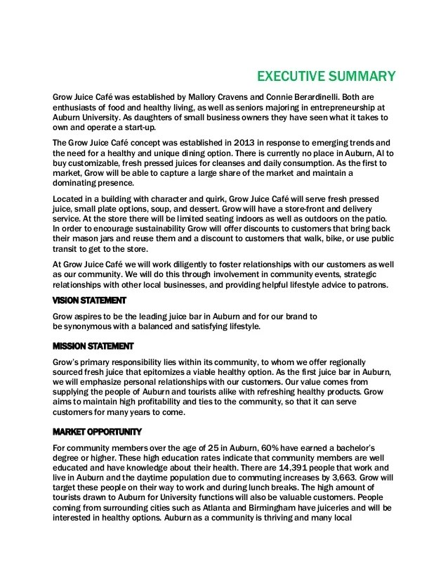 Business Plan Executive Summary Wording | Free Resume Samples ...