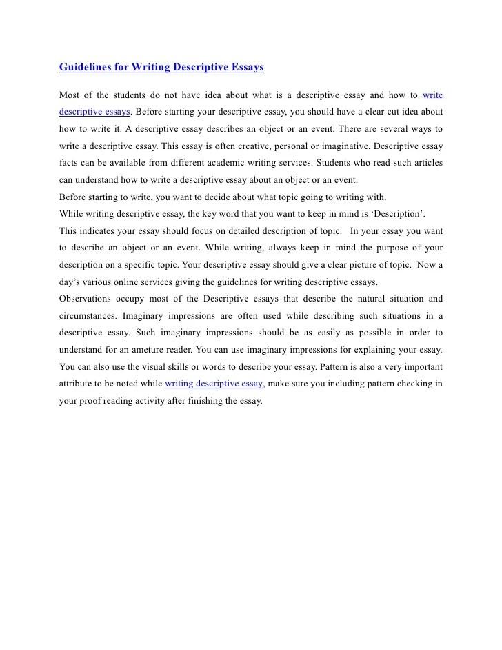 essay descriptive - Mendicharlasmotivacionales