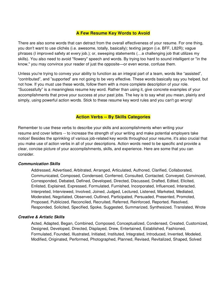 power verbs for resume pdf