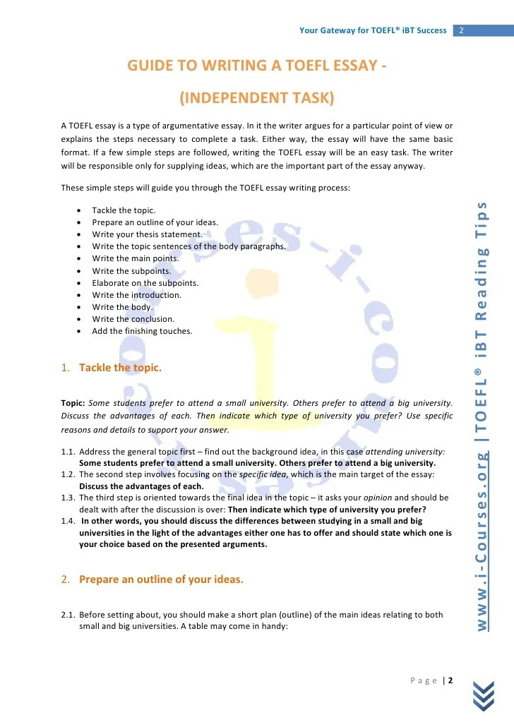 toefl ibt independent essay sample topic how to outline your