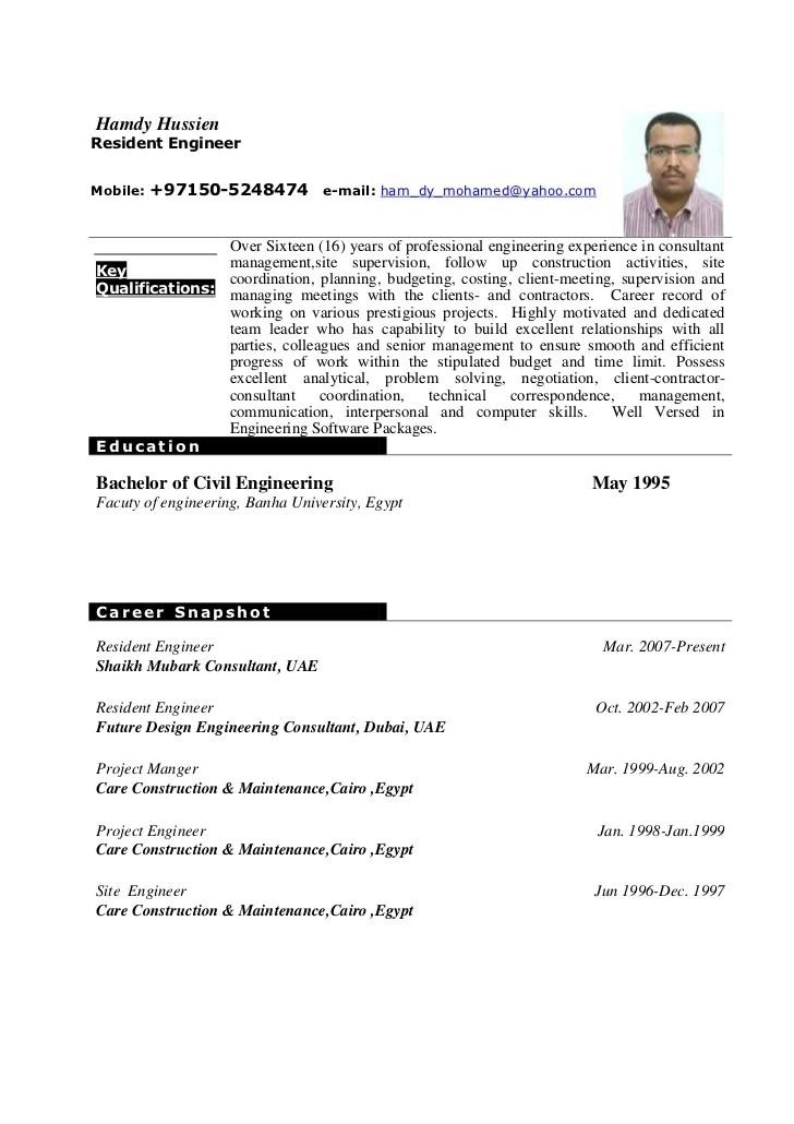 Samples Of Curriculum Vitae For Engineers Engineer Resume Example The Balance Hamdy Hussien Cv Resident Engineer