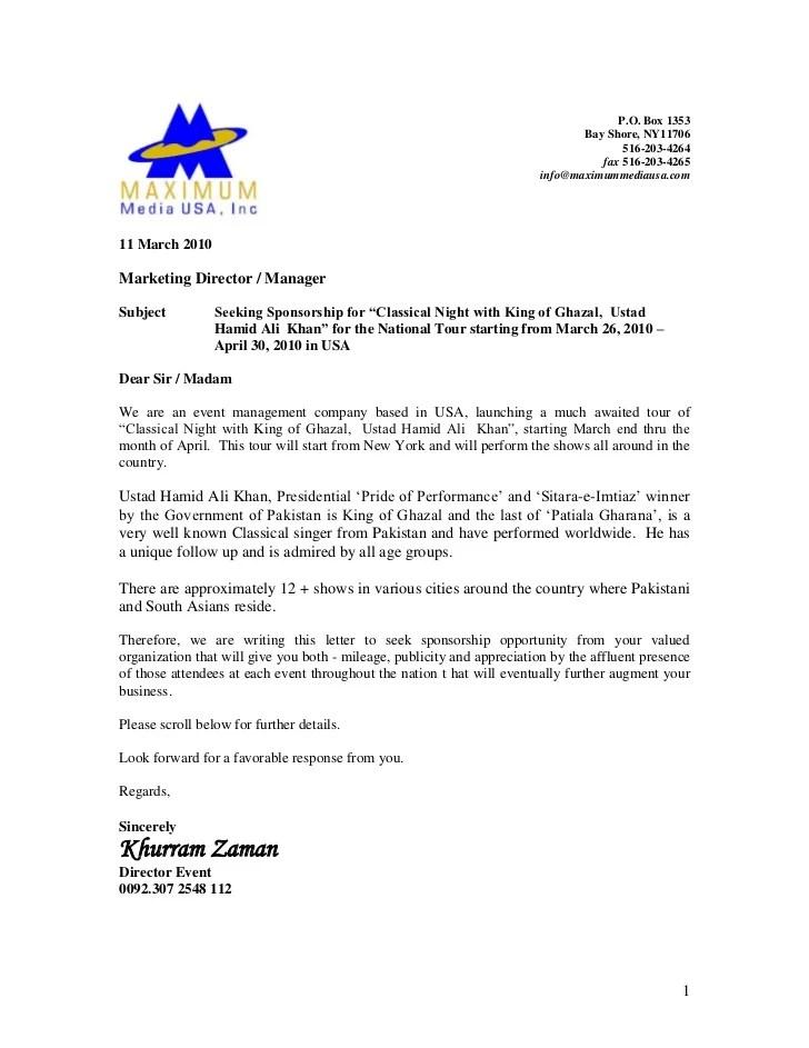 Sponsorship Proposal Letter Proposal Sample Of Sponsorship Letter