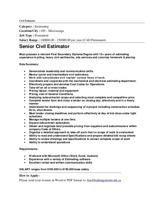 construction estimator resume sample - Selol-ink