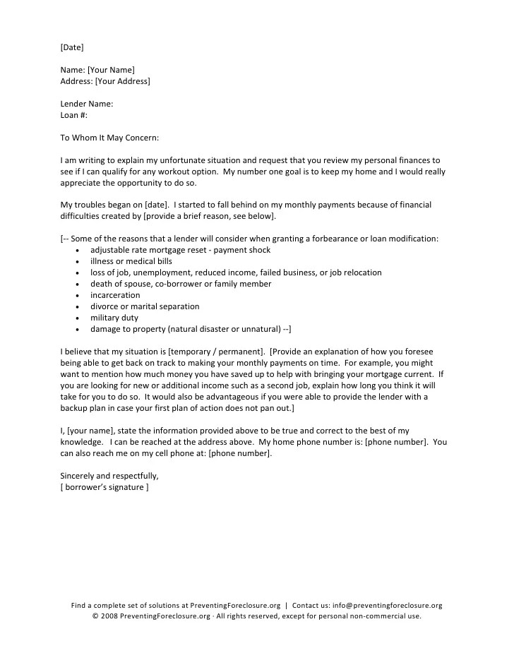 mortgage hardship letter template