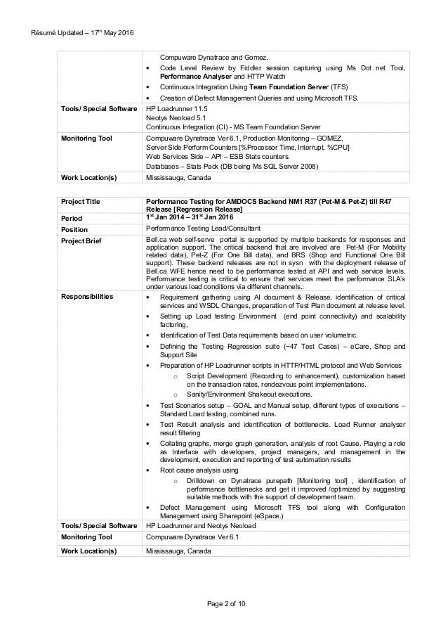 performance tester resume - Canasbergdorfbib