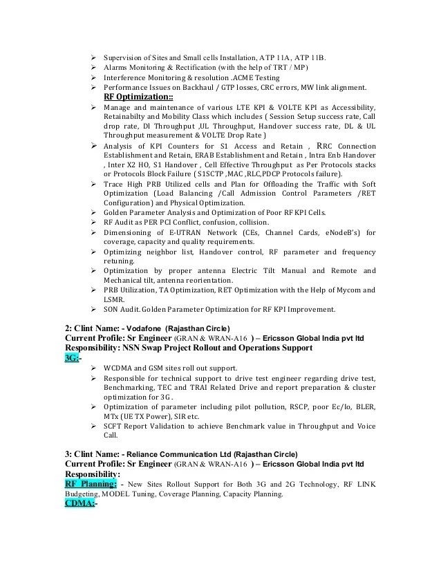Contemporary Ericsson Noc Engineer Resume Image Collection - Resume
