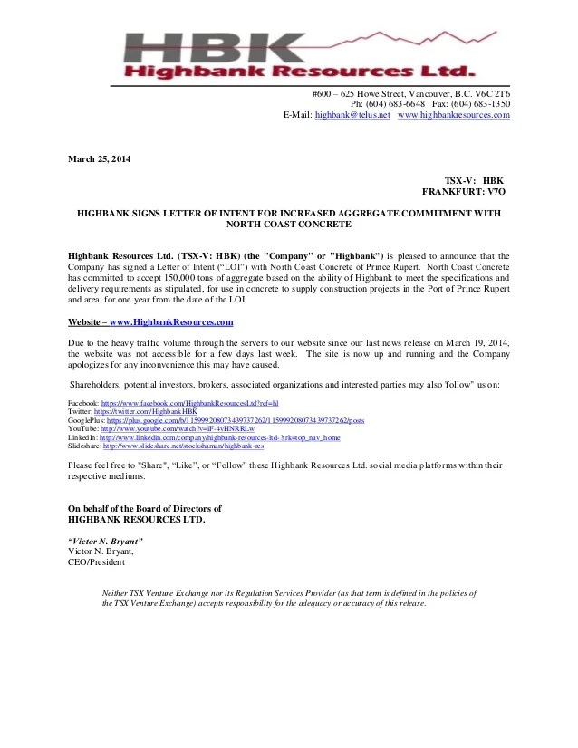 Letter Of Intent In Construction Contract – Letter of Intent Template Uk