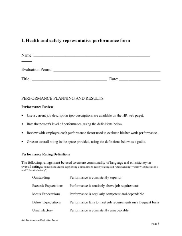 41 Sample Employee Evaluation Forms To Download Health And Safety Representative Performance Appraisal